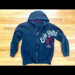 Grey Red Black XXX-Large, Grey Ecko Mens Designer Long Sleeve Full Zip Up Hoodie Jacket Blue